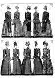 Vintage fashion clip art set. Vintage fashion clothing clip art set royalty free illustration