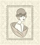 Vintage fashion girl in hat. Royalty Free Stock Photo