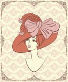 Vintage fashion girl in hat. Stock Photography