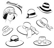 Vintage fashion girl in hat Stock Images