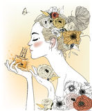 Vintage fashion girl with perfumes. Vector illustration Royalty Free Stock Photography
