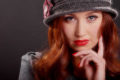 Vintage Fashion Girl Wearing Cloche Hat. Stock Images