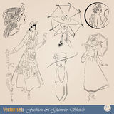 Vintage fashion illustrations Royalty Free Stock Photos