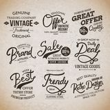 Vintage Fashion Labels on Light Brown Background Stock Photos