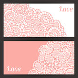 Vintage fashion lace banners with abstract flowers Royalty Free Stock Photos