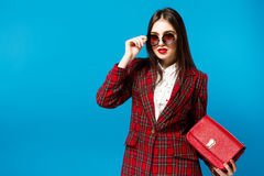 Vintage Fashion Lady. Checked coat and stylish Glam Retro style trend autumn Student Royalty Free Stock Photos