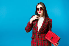Vintage Fashion Lady. Checked coat and stylish Glam Retro style trend autumn Student Stock Photography