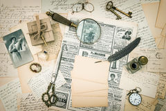 Vintage fashion magazine, old letters and postcards Royalty Free Stock Images