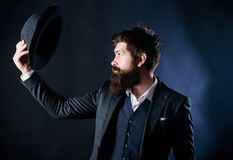 Vintage fashion. Man well groomed bearded gentleman on dark background. Male fashion and menswear. Formal suit classic. Style outfit. Elegant and stylish royalty free stock photos