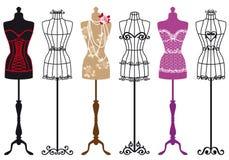 Vintage fashion mannequins, vector set Stock Photography