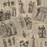 Vintage fashion newspaper texture. Collage of woman retro old fashion newspaper magazines with female clothes of 1893 Paris. Square background Royalty Free Stock Photo