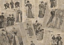 Vintage fashion newspaper texture. Vintage fashion newspaper horizontal texture background. Collage of woman retro old fashion newspaper magazines with female Stock Photos
