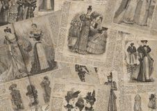 Vintage fashion newspaper texture. Collage of woman retro old fashion newspaper magazines with female clothes of 1893 Paris. Horizontal background Royalty Free Stock Image