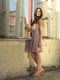Vintage fashion portrait young woman old house royalty free stock photography