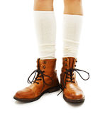 Vintage fashion shoes and white half-hose Stock Image