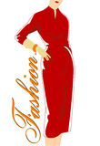Vintage fashion silhouette of women in red dress. Scetch of women 1960's Royalty Free Stock Images