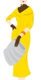 Vintage fashion silhouette of women in yellow coat. Illustration retro style dressed woman Stock Photo