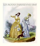 1845 vintage fashion, two young ladies with dogs stock illustration