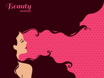 Vintage Fashion Woman with Long Hair Royalty Free Stock Image