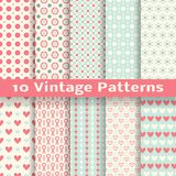 Vintage fashionable vector seamless patterns. 10 Vintage fashionable vector seamless patterns (tiling). Retro pink, white and blue colors. Endless texture can be Royalty Free Stock Photography