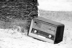 Vintage fashioned old radio on the beach Stock Photo
