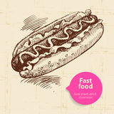 Vintage fast food background with color bubble Stock Photo