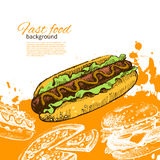 Vintage fast food background Royalty Free Stock Photos