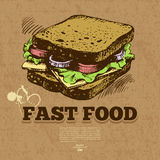 Vintage fast food background. Hand drawn Stock Photography