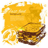 Vintage fast food background. Hand drawn Royalty Free Stock Photography
