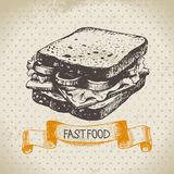 Vintage fast food background. Hand drawn Royalty Free Stock Photos