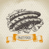 Vintage fast food background. Hand drawn Stock Photos