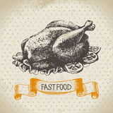Vintage fast food background. Hand drawn Royalty Free Stock Images