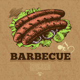 Vintage fast food background. Hand drawn Royalty Free Stock Image