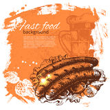 Vintage fast food background. Hand drawn Royalty Free Stock Photo