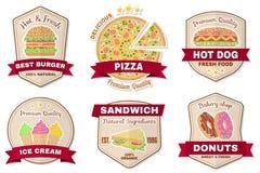 Vintage fast food badge, banner or logo emblem. Stock Images