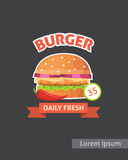 Vintage Fast food burger set posters. Retro burger isolated vector Royalty Free Stock Images