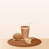 Vintage Fast Food Composition. Vector Background Royalty Free Stock Photography