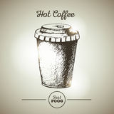 Vintage fast food cup of coffee Royalty Free Stock Images