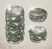 Vintage fast food, hamburger. Hand drawn Royalty Free Stock Image