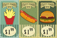 Vintage fast food labels Royalty Free Stock Photo