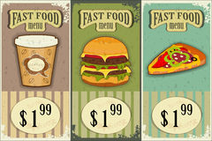Vintage fast food labels Royalty Free Stock Photos