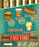 Vintage fast food Menu Stock Photos