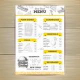 Vintage fast food menu design. Royalty Free Stock Images