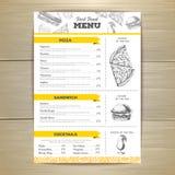 Vintage fast food menu design. Stock Photography