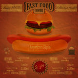 Vintage fast food menu - the food on crumpled pape Royalty Free Stock Photography