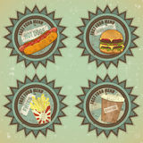Vintage fast food menu - grunge labels Royalty Free Stock Photo