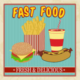 Vintage fast food menu Stock Photography
