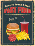 Vintage Fast Food poster Stock Photo