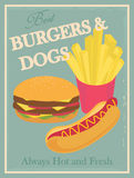 Vintage fast food poster Royalty Free Stock Image