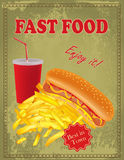 Vintage  Fast Food poster Royalty Free Stock Images